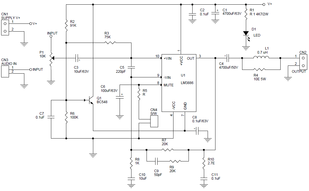 68w Mono Hifi Audio Lifier Using Lm3886 Single Supply Archives Rhtwovolt: Single Supply Circuit Schematic Diagram At Gmaili.net