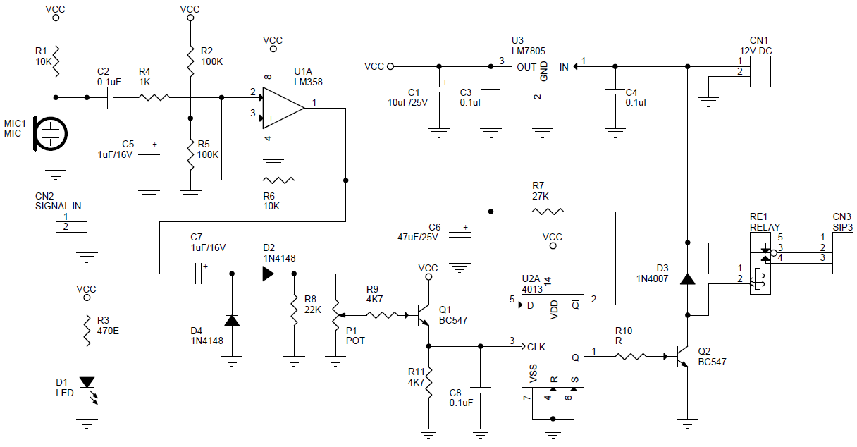 respond in addition High Temperature Indicator Circuit furthermore 711 likewise Clap Switch Using Lm358 Cd4013 as well Improved Impulse Detector With Cd4029n. on hobby circuit projects