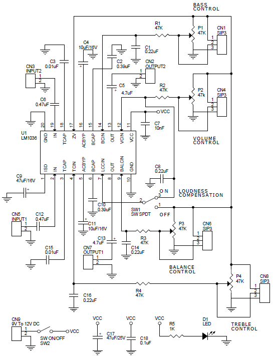 dual dc operated tone  volume  balance circuit using lm1036