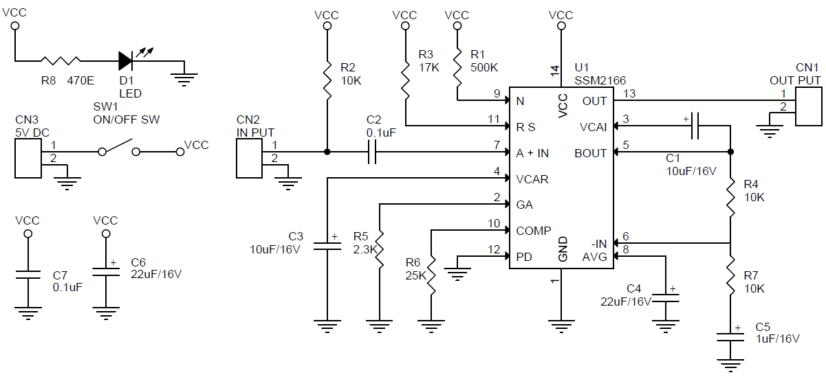 Microphone Pre-Amplifier with Variable Compression and Noise