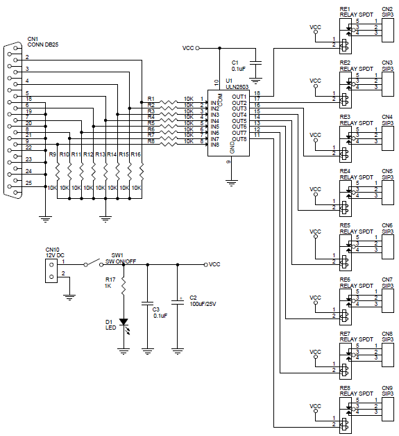 Circuit Diagram Of The Parallel Port Board - Fav Wiring Diagram
