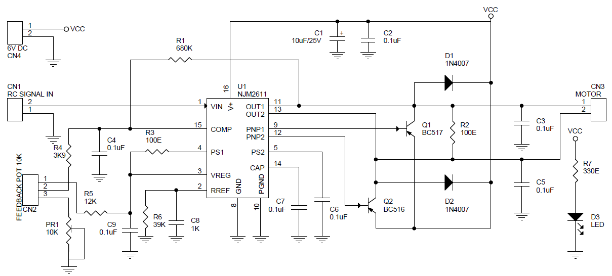 Rc Signal To Dc Motor Driver Using Njm2611 Circuit Ideas