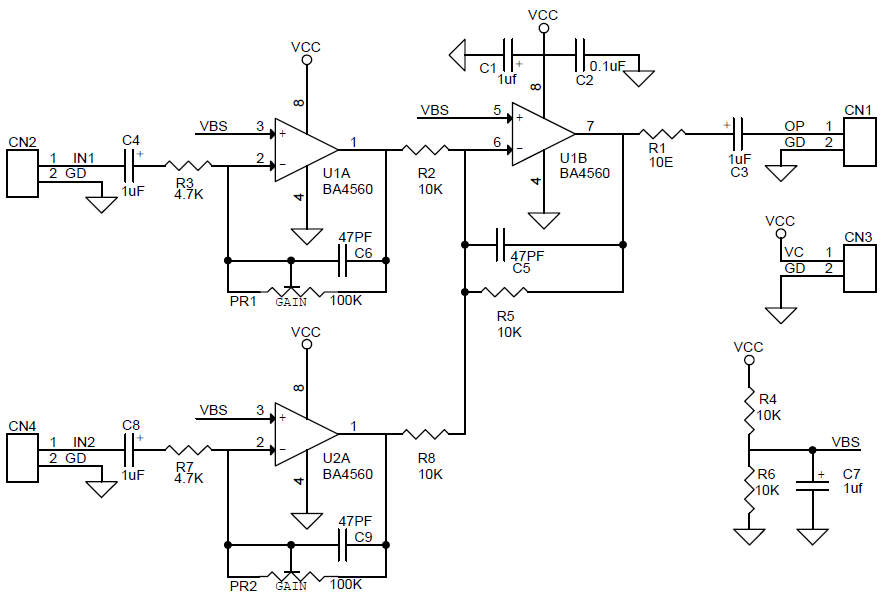 two channel audio signal mixer using lm358 ba4560 op amp circuit rh twovolt com audio mixer circuit diagram pdf simple audio mixer circuit diagram