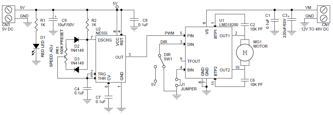 3amps Dc Motor Speed Direction Controller Using Lmd18201