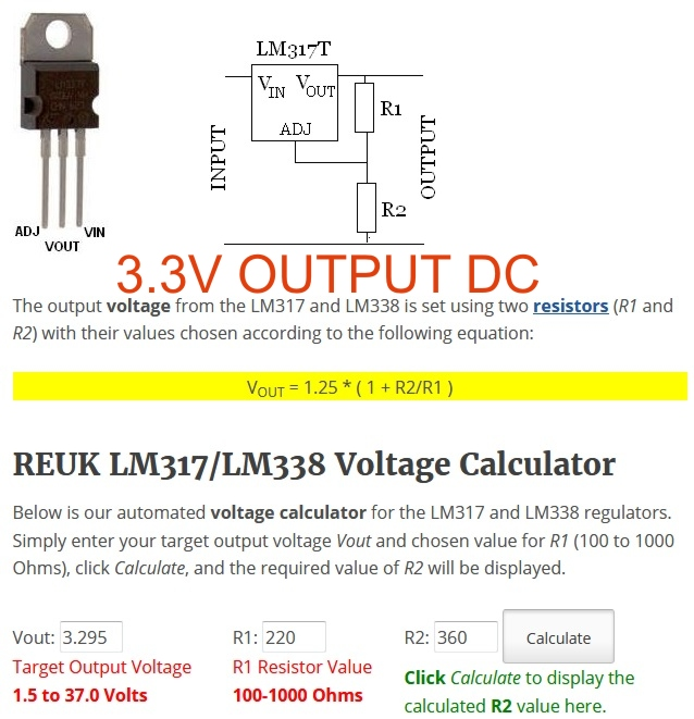 LM317-ADJ Resistor Value and Circuit for 3 3V,5V,12V,15V,18V
