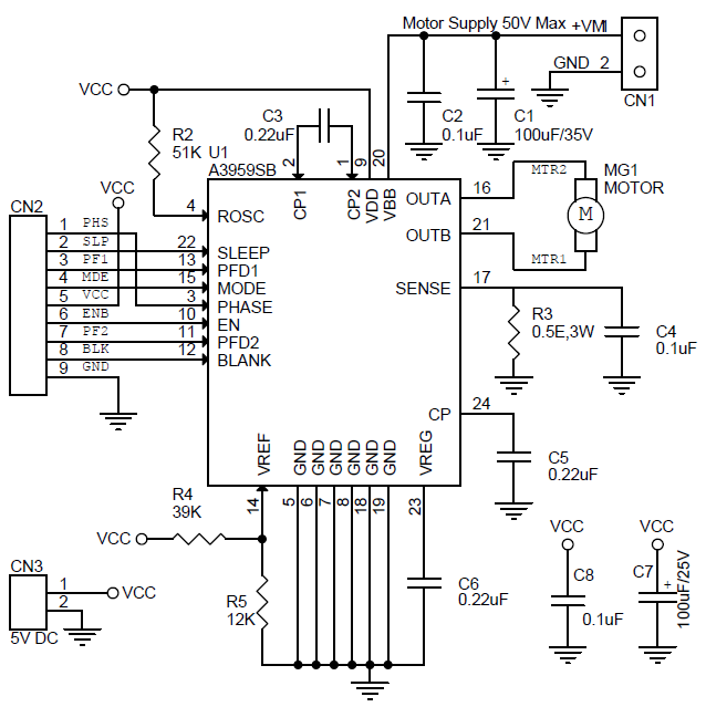 3a full-bridge pwm dc motor driver using a3959