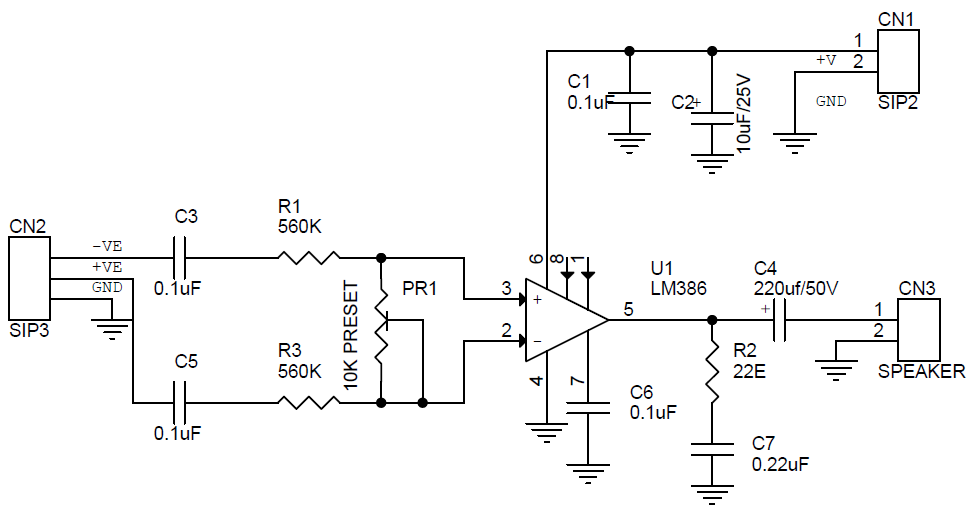 Differential Signal Input Audio Amplifiers Using LM386 Circuit