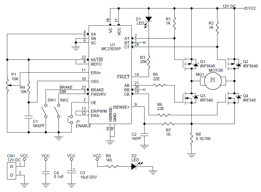 5A DC Motor Speed And Direction Controller Using MC33035 Archives ...