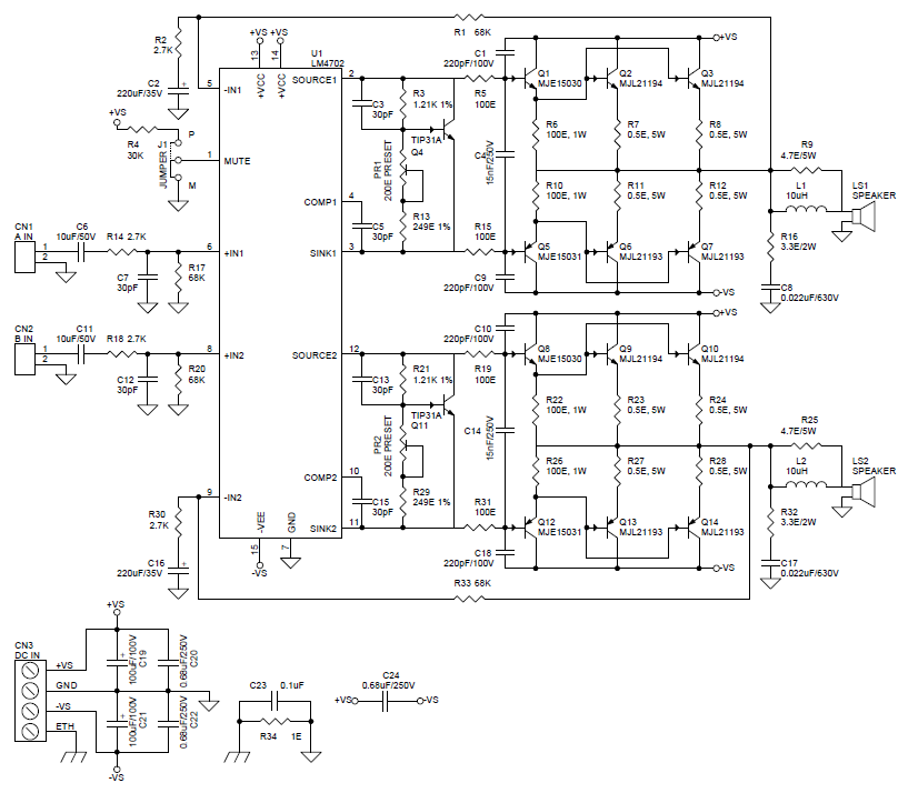 200w stereo audio amplifier using lm4702