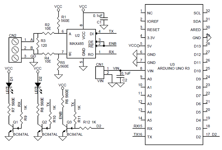 RS485 Shield For Arduino Uno Schematic and PCB Layout ... on