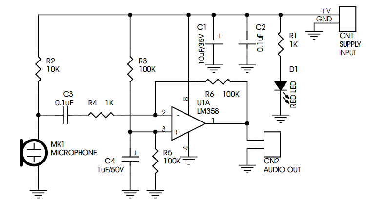MINI MICROPHONE PRE-AMPLIFIER USING LM358 - Circuit Ideas I