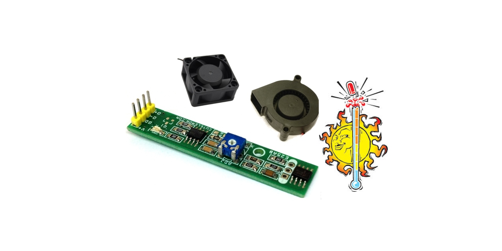 heat activated cooling fan controller circuit using lm393 lm358