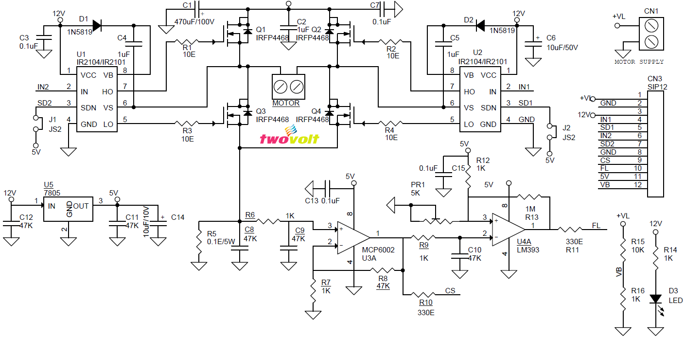 20amps H Bridge Dc Motor Driver With Current And Fault Feedback Control Power Mosfets Using Ir2104 Ir2101 Irfp4468