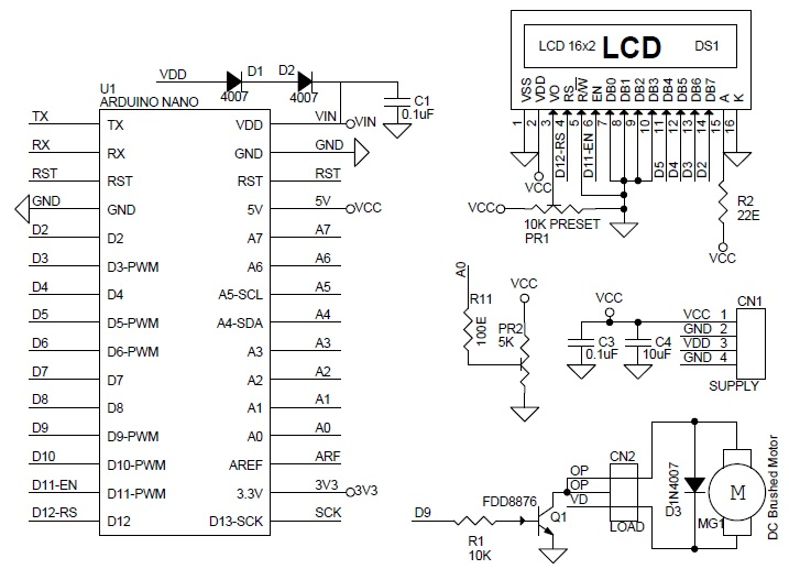 Arduino Based DC Motor Speed Controller with 16X2 LCD - Circuit