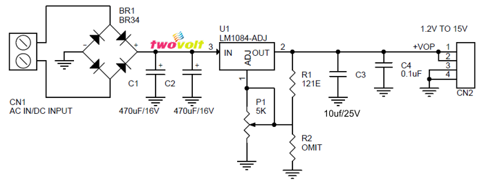 note : higher input and output volatge possible with few changes, input  filter capacitor volatge , higher current bridge rectifier can provide  higher