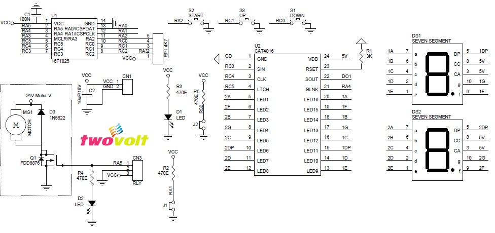 DC Motor Speed Controller with 2 digit display ( Duty Cycle Display