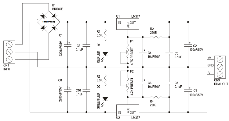 1.2V TO 37V ADJUSTABLE DUAL POWER SUPPLY USING LM317-LM337  (3)