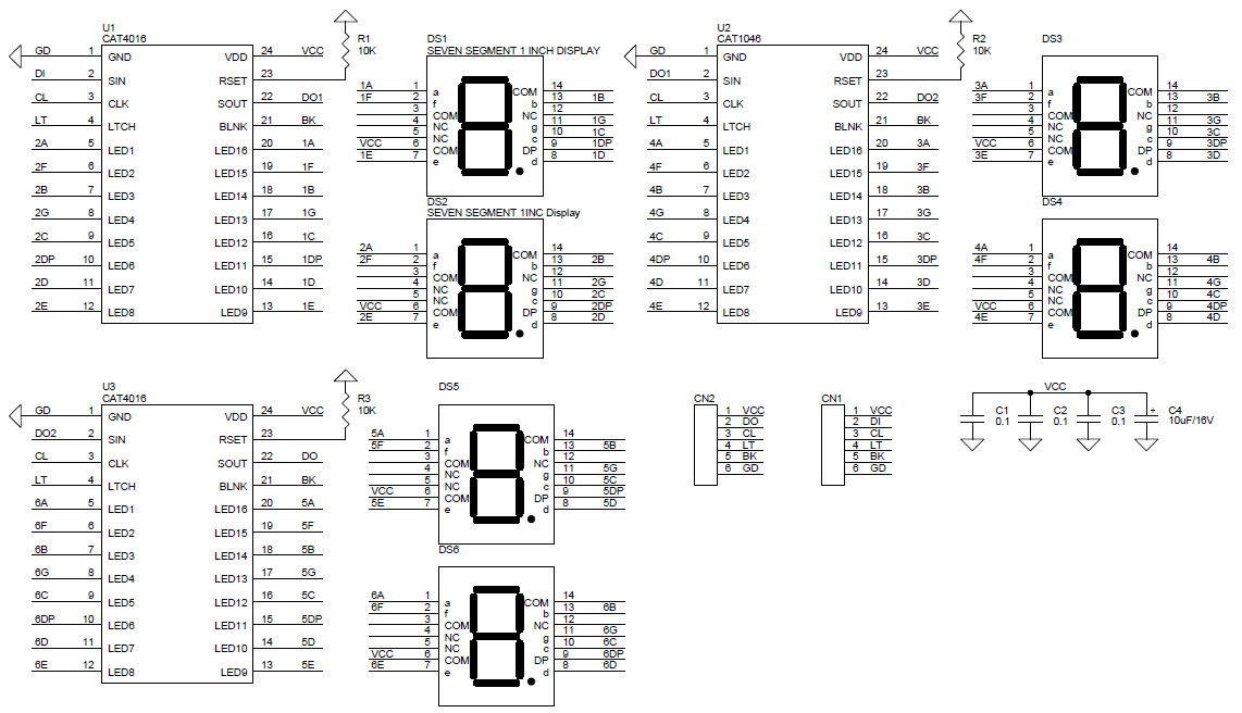 6 digit spi display using 1 inch 7 segment display and CAT4016 ic (1)