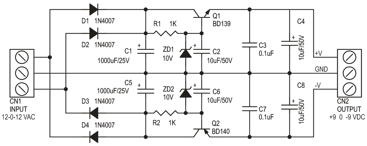 9V Dual Output Power Supply Using Zener and Bipolar Transistor (3)