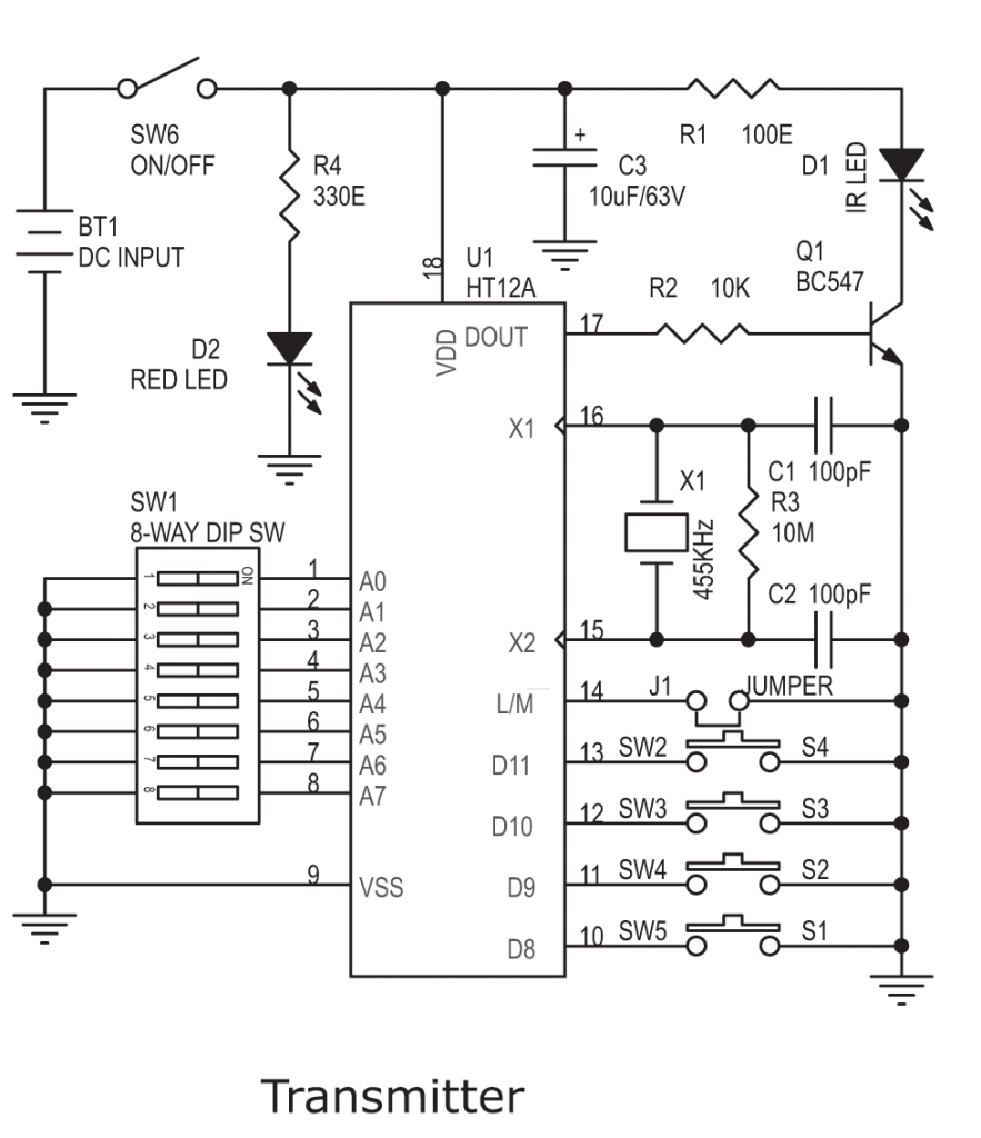 Ht12a Ht12d Based 4 Channel Ir Remote Controller Circuit Archives Rf Schematic Transmitter 883x1024