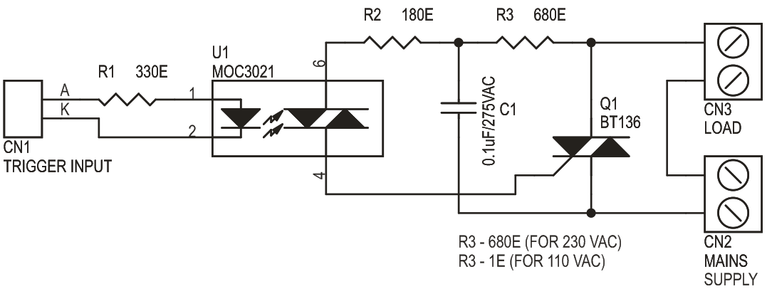 Solid State AC Relay Descreet Circuit Using Traic (3)