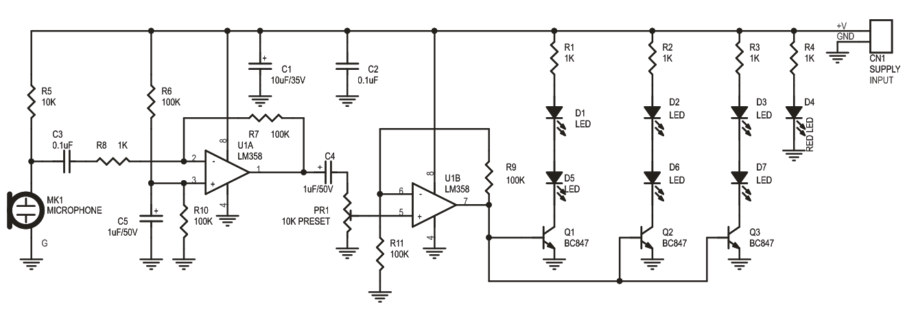 Sound to Light Effects Using OP-Amp LED and Microphone (3)