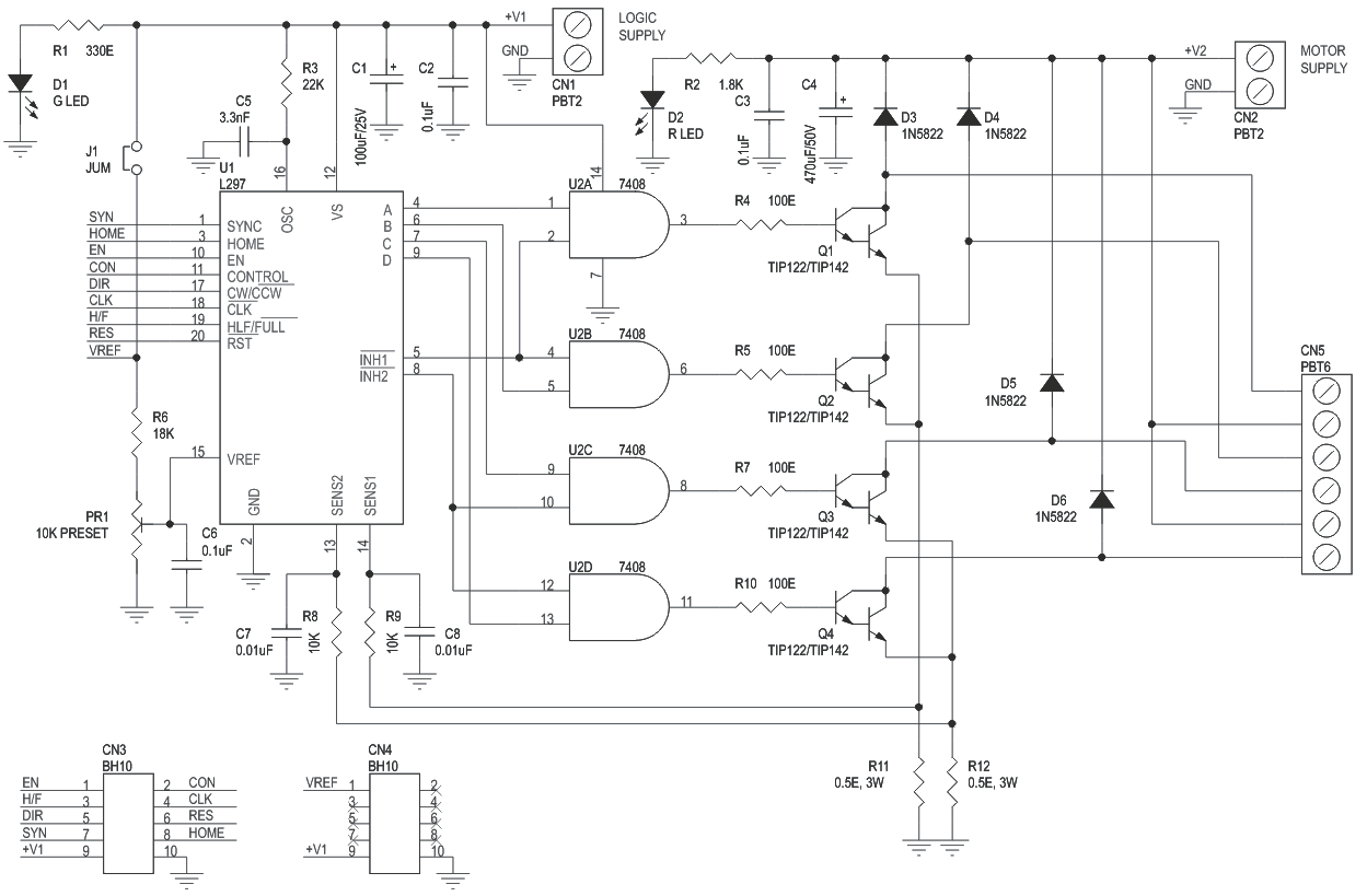 Uni Polar Stepper Motor Driver Using Transistors L297 Circuit Shows About Twotransistor Dc Diagram Unipolar And 3