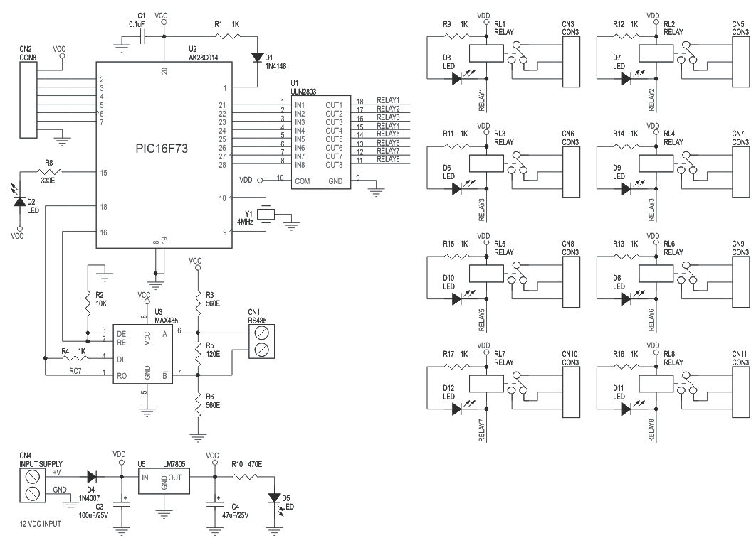 8 Channel Rs485 Relay Board Circuit Ideas I Projects Schematics 4 Wiring Diagram Driven 3