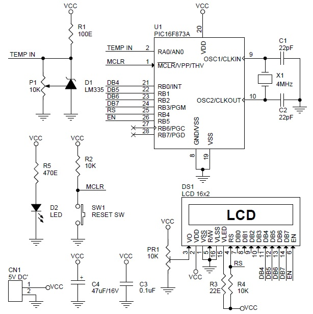 digital-thermometer-using-pic16f873-lcd-lm335-schematic