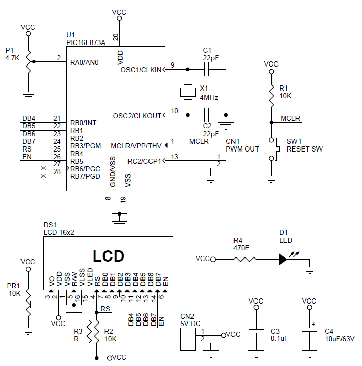 pwm-generator-with-duty-cycle-display-using-pic16f873-schematic