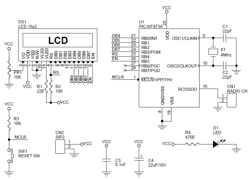rc-signal-reader-using-lcd-and-pic16f873-schematic