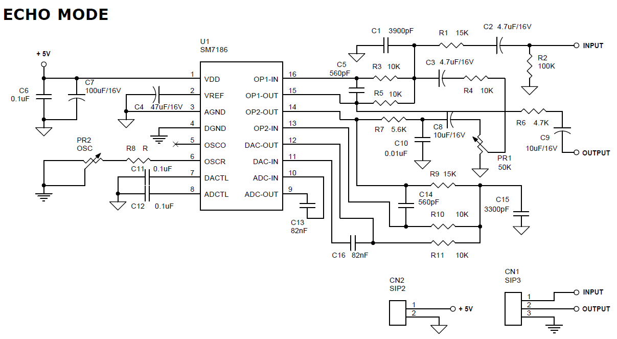 Alarm Voice Archives Circuit Ideas I Projects Schematics Audio 555 Vco Speaker To Vcc Electrical Engineering Echo Generator Using Sm7186