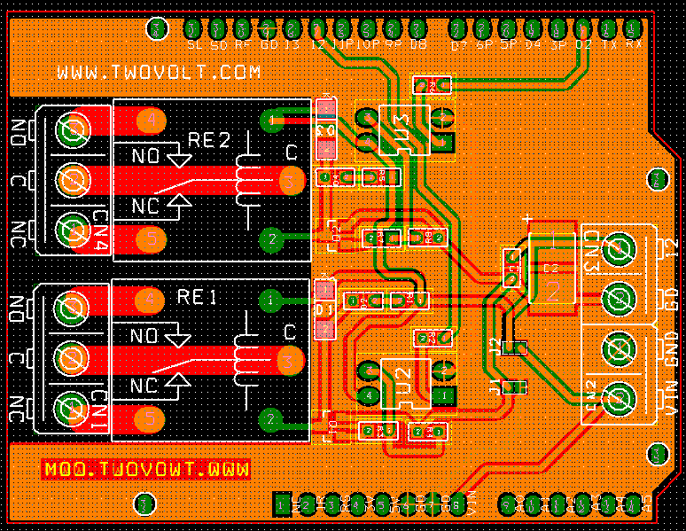 2 Channel Relay Shield for Arduino Uno circuit and PCB