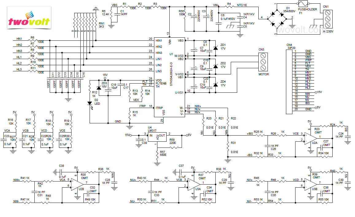 Power Monitor Schematic 16kw Brush Less Motor Driver Using Ipm Stk554u362 Circuit Thestk554u362a Is Intelligent Module Based Upon Ons Insulated Metal Substrate Technology Imst For 3 Phase Drives Which Contain The Main