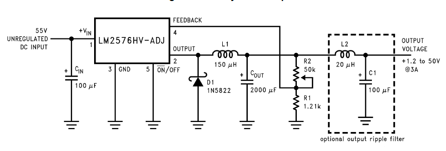 1 2v to 50v  3amp  adjustable power supply circuit using lm2577hvt-adj