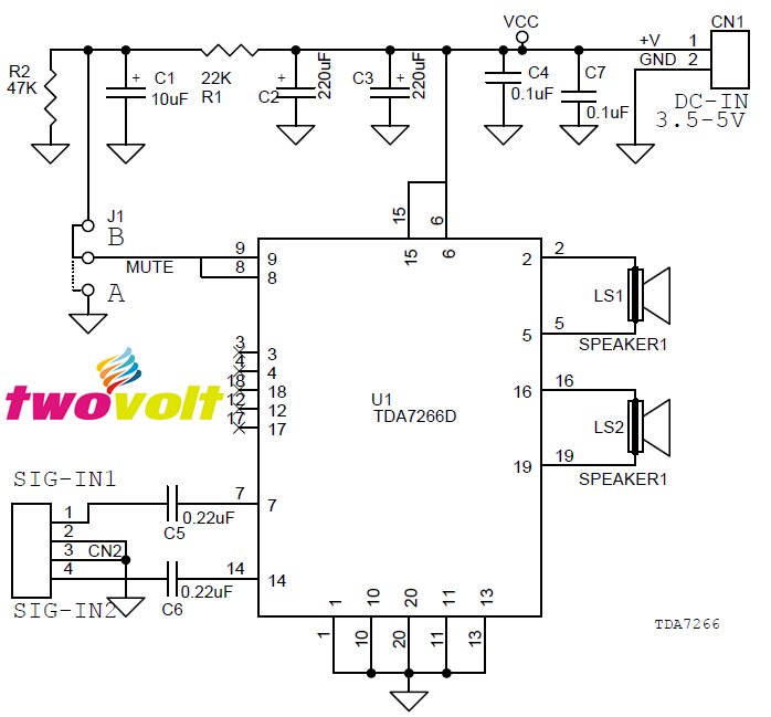 3w stereo audio amplifier circuit  using tda7266 smd  3