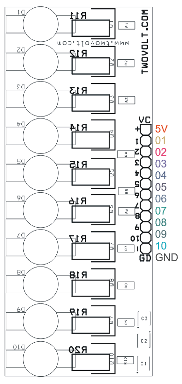led sequencer using 10 white leds of each 3w and arduino